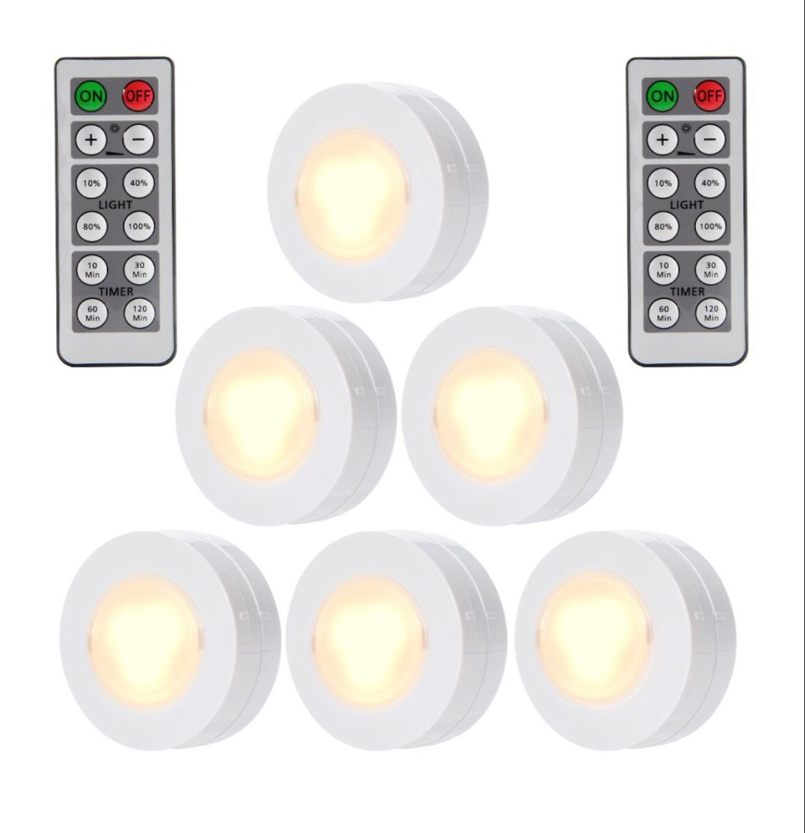 6 Packed Led Puck Lights Remote Controlled Closet Lights Super Bright Under Cabinet Lighting Round Shape Battery Powered Dimmable Light Walmart Com In 2020 Under Cabinet Lighting Wireless Light Kitchen Cabinets