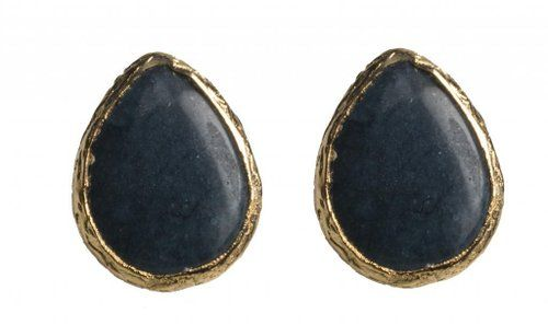 Natural Stone Black Chalcedony Pear Shape Stud Earrings