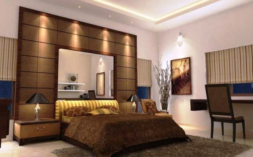 View Of Bed Room Interior Wooden Bed With Back Rest Having