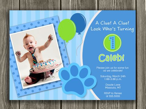 Printable blues clues inspired birthday photo invitation kids printable blues clues inspired birthday photo invitation kids birthday party idea first or second filmwisefo Choice Image