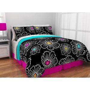 Black Neon Floral Queen Bedding Comforter Set Bed In A Bag New