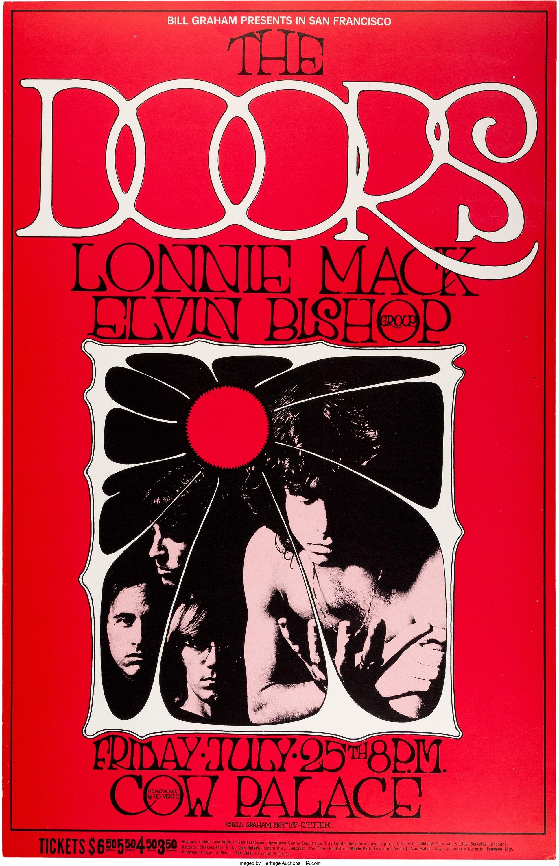 Amazing Doors Cow Palace Concert Poster BG 186 (Bill Graham, 1969). First