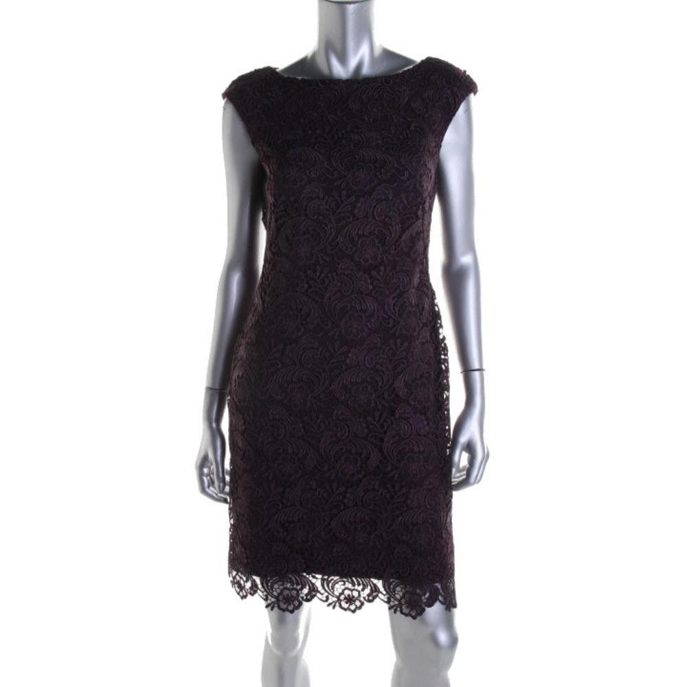 Lauren ralph lauren womens lace overlay sleeveless cocktail dress