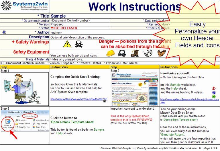 Work Instructions Template Word Inspirational Work Instruction