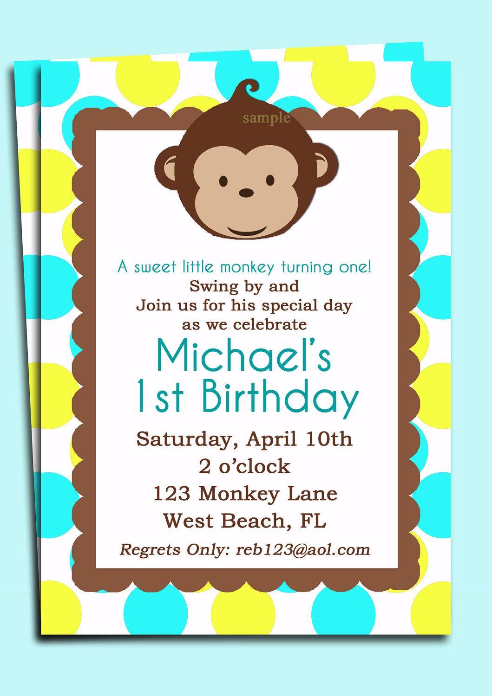 Mod Monkey Invitation Printable - Mod Monkey Birthday or Baby Shower ...
