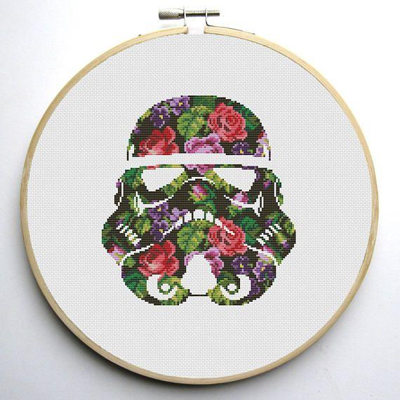 Star Wars Cross Stitch PDF pattern Floral Stormtrooper Helmet 2 ...