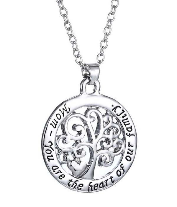 Mom Your are the Heart of our Family Pendant Necklace