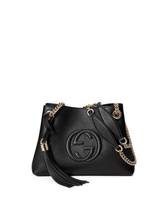 142f962258fa Soho+Small+Leather+Tote+Bag+w/+Chain+Straps,+Black+by+Gucci +at+Neiman+Marcus.
