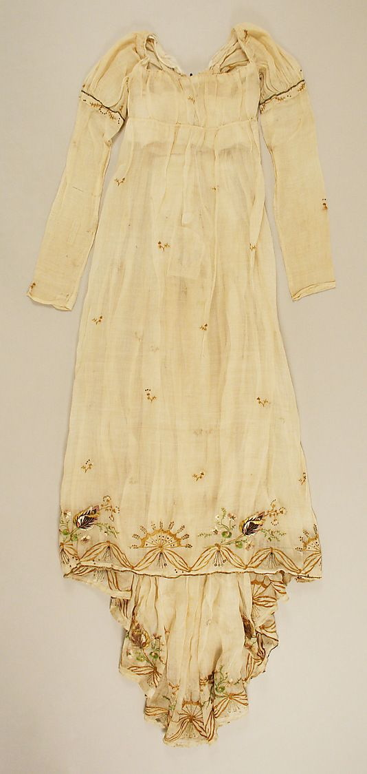 Embroidered cotton and silk dress with train, French, ca. 1810.