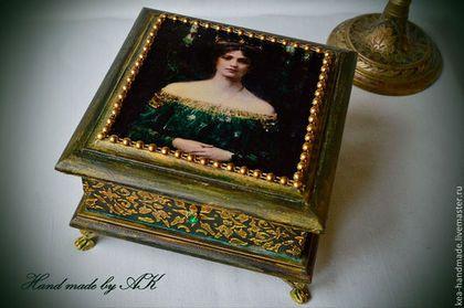 """Шкатулка """"Дочь короля"""" - тёмно-зелёный,Декупаж,шкатулка,набор,золотой"""
