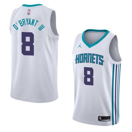 half off e88ba 457a0 Men 8 Johnny O'Bryant White Charlotte Hornets Jersey ...