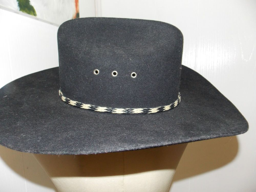 8e8302ed7c5 Stallion by Stetson Black Cowboy Hat Size 7 1 4