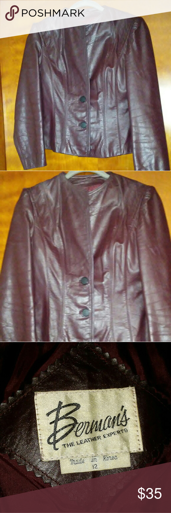 Vintage Ladies Burgundy Leather jacket Beautiful Ladies 2 button burgundy leather jacket. Vintage. In good condition. Missing the matching belt. Berman's Jackets & Coats
