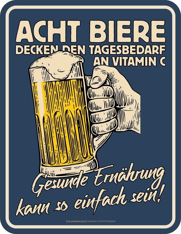 Blechschild Bier - Gesunde Ernährung, Lustiges Deko-Schild