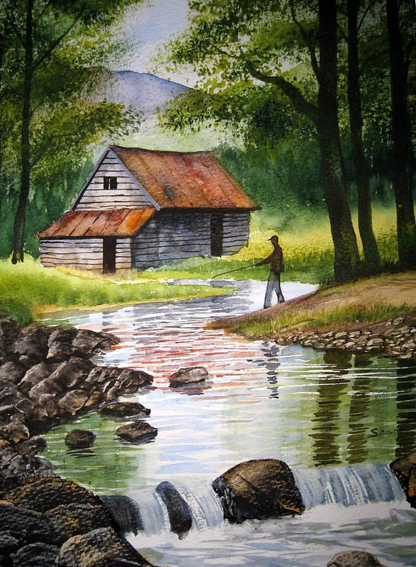Fishing Upstream Poster