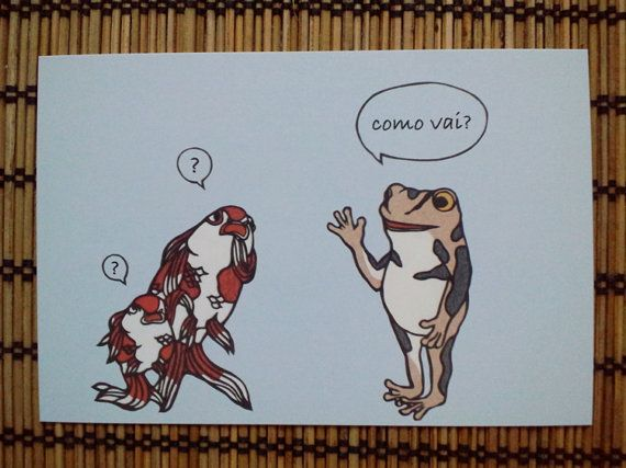frog and goldfish  post card by Nuchiwacca on Etsy, ¥150