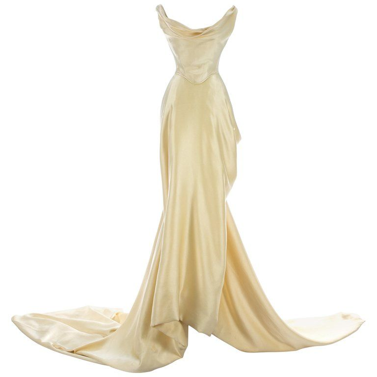 Vivienne Westwood cream silk corset and draped skirt wedding ensemble, c. 1999