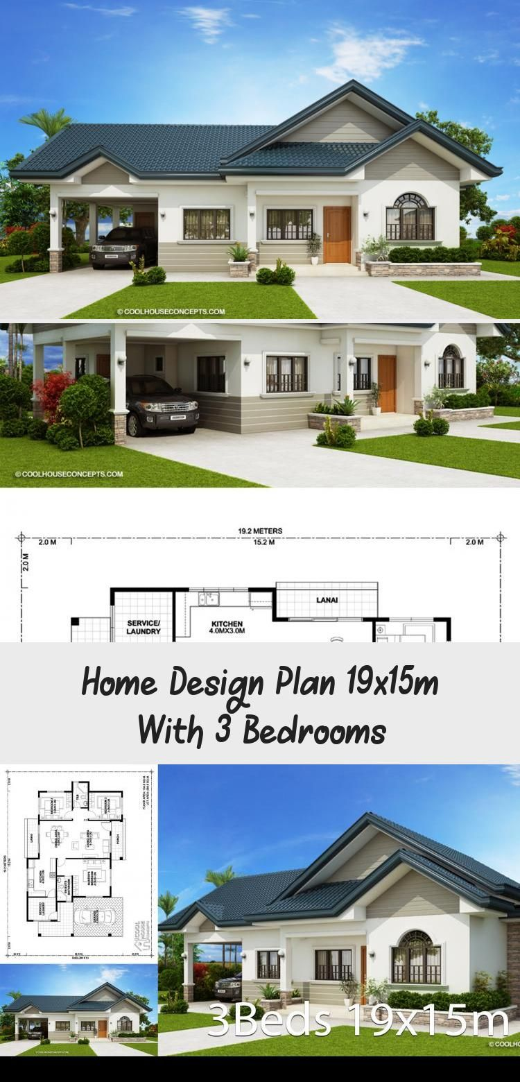 Home Design Plan 19x15m With 3 Bedrooms Home Design With Plansearch Houseplansdesign Houseplan In 2020 Home Design Plan Affordable House Plans Colonial House Plans