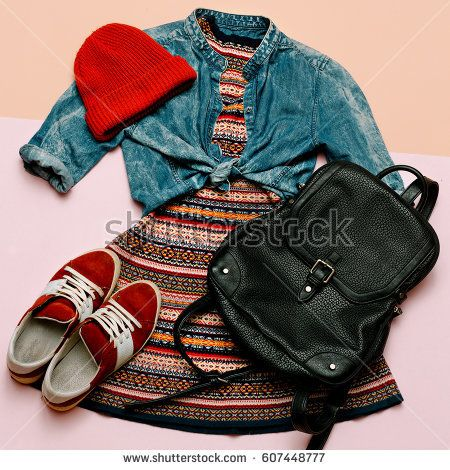 Stylish outfit for the girl. Dress ornament and accessories. Backpack trend