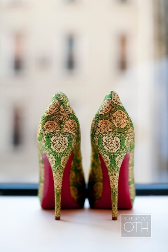 1ebc9d7285 Elegant green heels with red bottoms.Even with the fine craftsmanship and  elegance there is a strong feeling of whimsy. ~