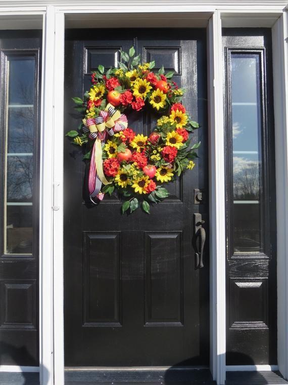 Photo of Farmhouse Door Wreath, XL Sunflower Wreath, Spring Door Wreath, Summer Wreath Front Door, Country Do
