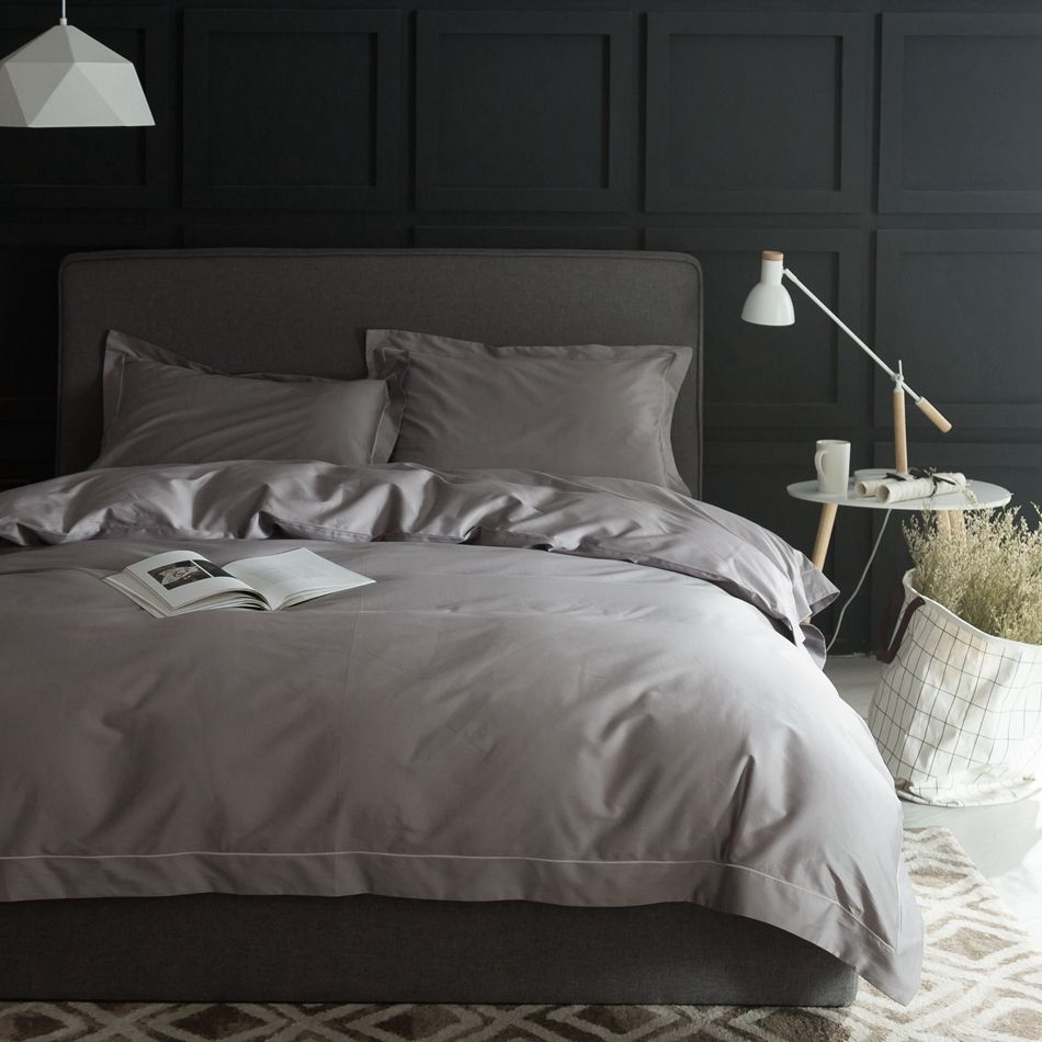 Charmant Luxury Grey Duvet Cover Set Queen King Size,100% Pima Cotton Bed Sheets/