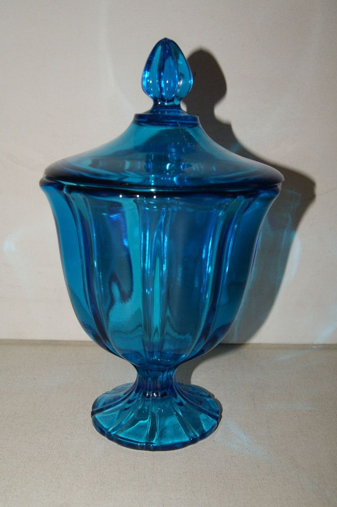 Vintage Large Aqua Blue Glass CANDY or APOTHECARY JAR w/ Lid Pressed Glass