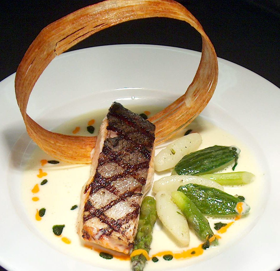 Food Plating Idea. Grilled Salmon with a Potato Ring