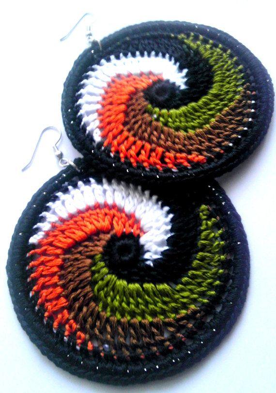 Cosmic Swirl Crochet Hoop Earrings 100%  Cotton