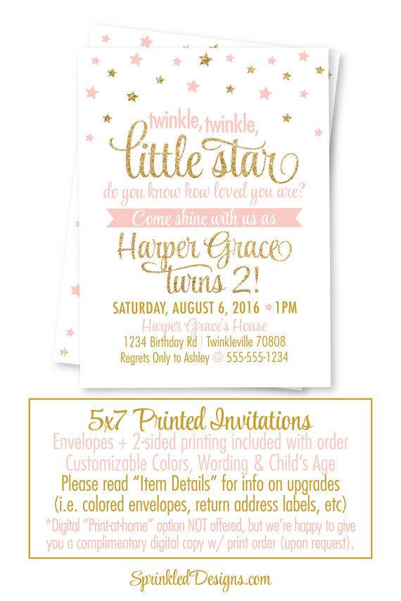 Twinkle Twinkle Little Star Birthday Invitation with Photo Star