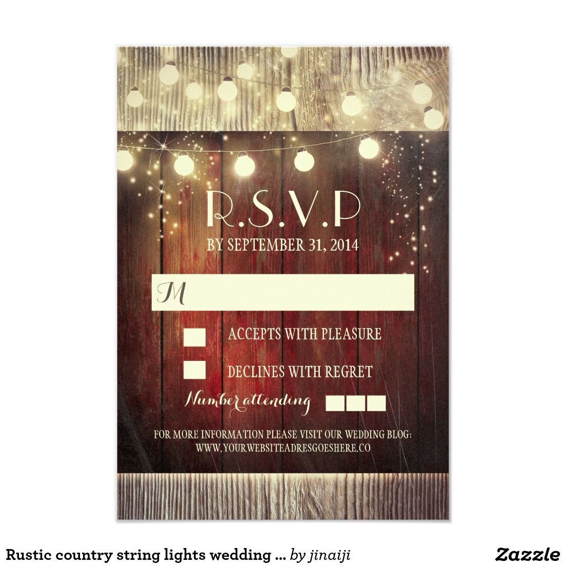 Rustic country string lights wedding RSVP cards | Perfect Weddings ...