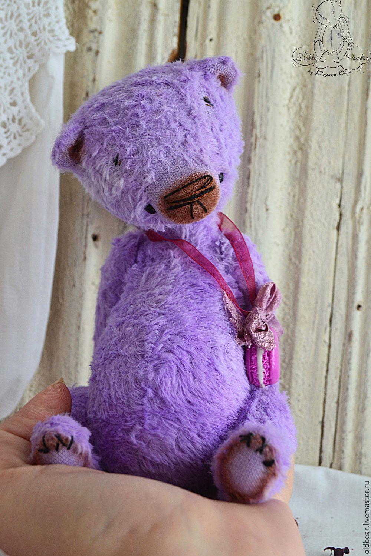 Купить Macaroon ... - сиреневый, мишка тедди, мишка ручной работы, мишка тедди винтаж