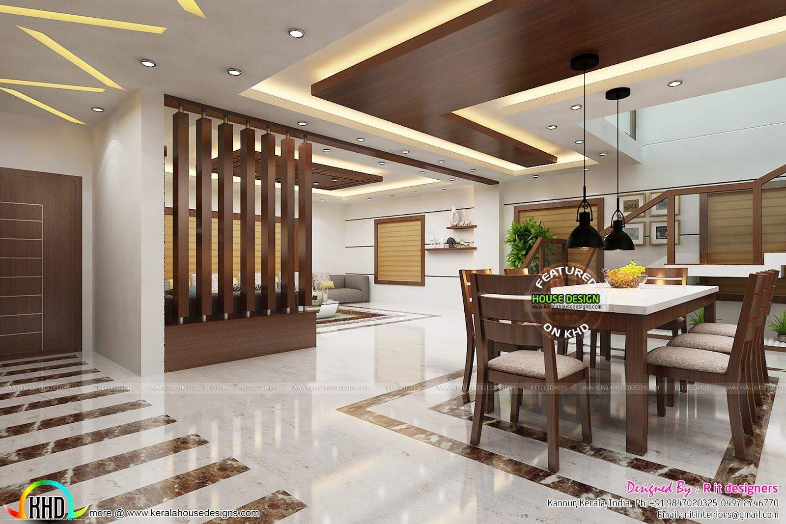 Partition Design For Living Room And Dining Hall 2017 Kitchen And Dining Trends In Kerala In 2018 Hall