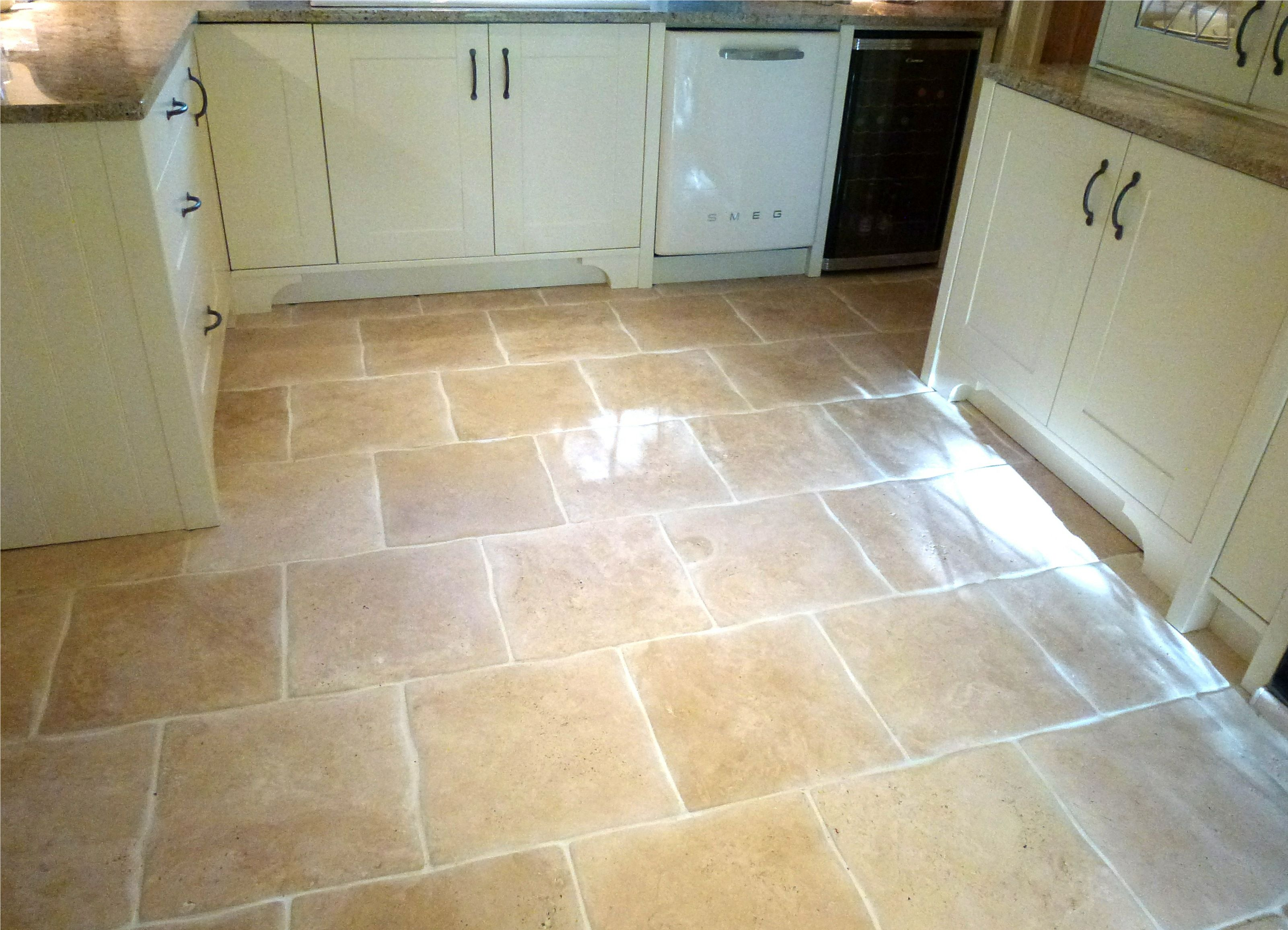 The color of tile Wavy edge travertine kitchen floor tiles