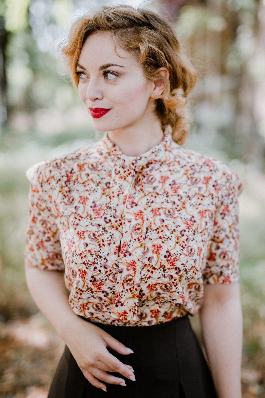 40er Jahre Bluse Romy Beige Vintage Outfits Bluse Und 50er Jahre Mode