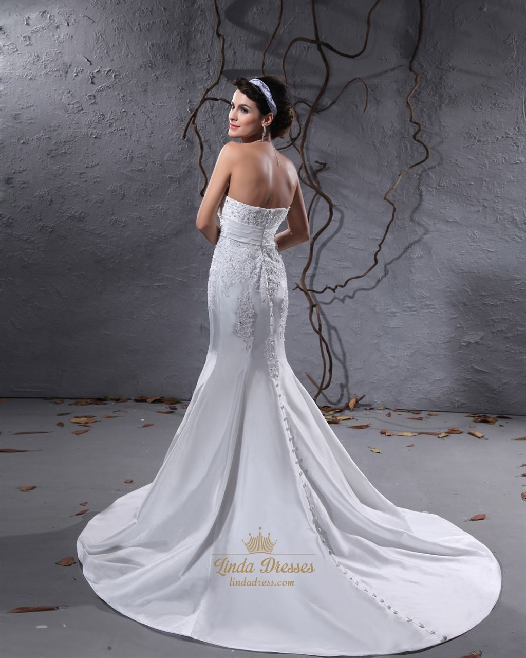 White Strapless Mermaid Wedding Dresses With Ons All Down Back