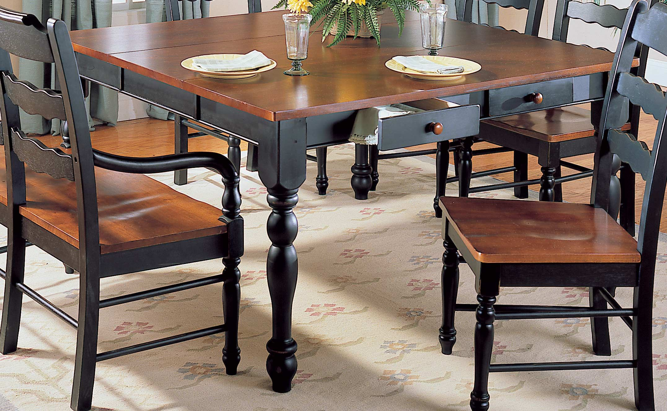 Sedgefield Collection Dining Table With Drawers Set Bac