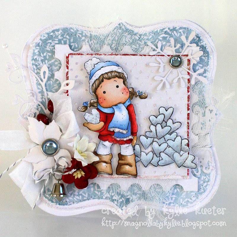 Tilda with Snow Heart & Heart Pile