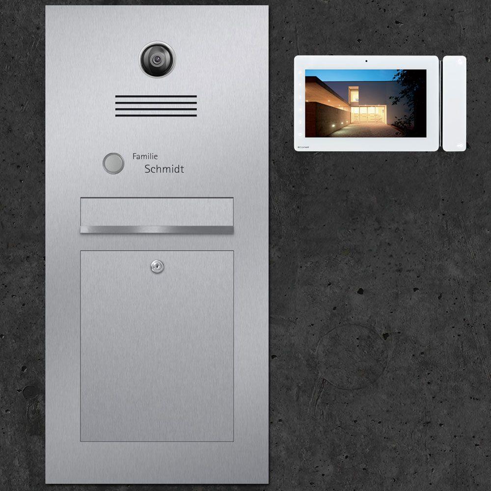 Haus design eingangstor türsprechanlage briefkasten edelstahl video kamera innensprechstelle