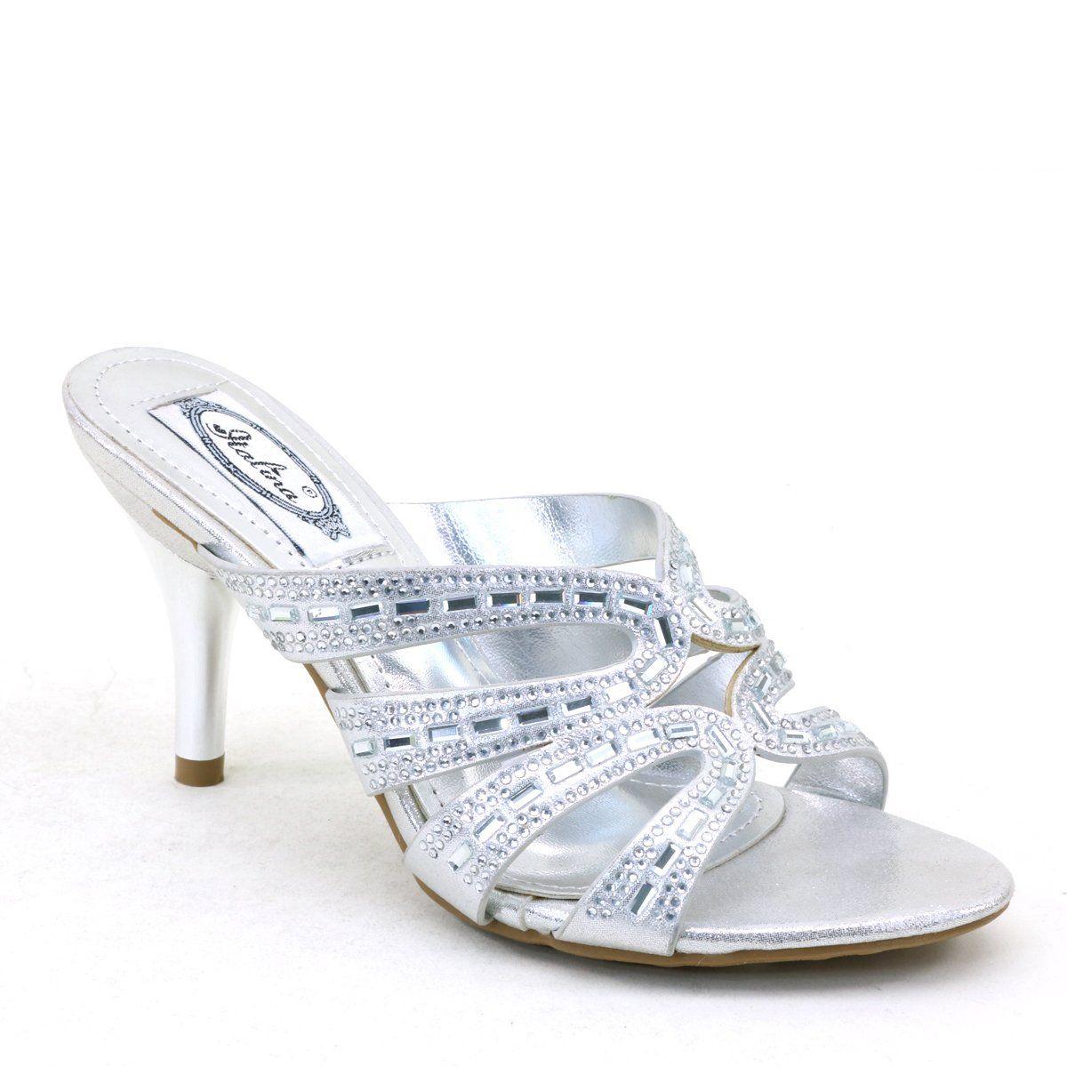 Brieten New Womens Rhinestone Ankle Strappy Platform Gold Heel