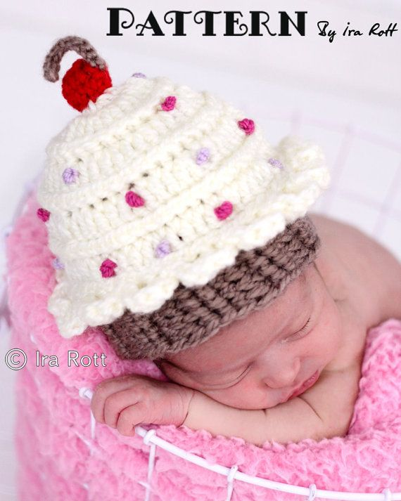 87d7eb37039 Cherry Cupcake Hat Beanie Crochet Pattern  Mo McDade I need this hat-who  can make it