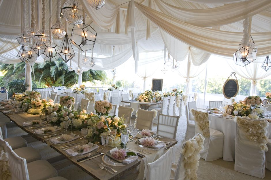 wedding tent decor Add dimension to your space with canopy fabric draped at different heights and eye-catching lights in mismatched shapes. & Montecito CA Wedding Mindy Weiss Party Planning | L.O.V.E. ...