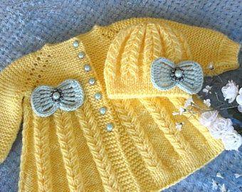 Bautizo vestido crochet bebé vestido conjunto crochet bautismo | Etsy