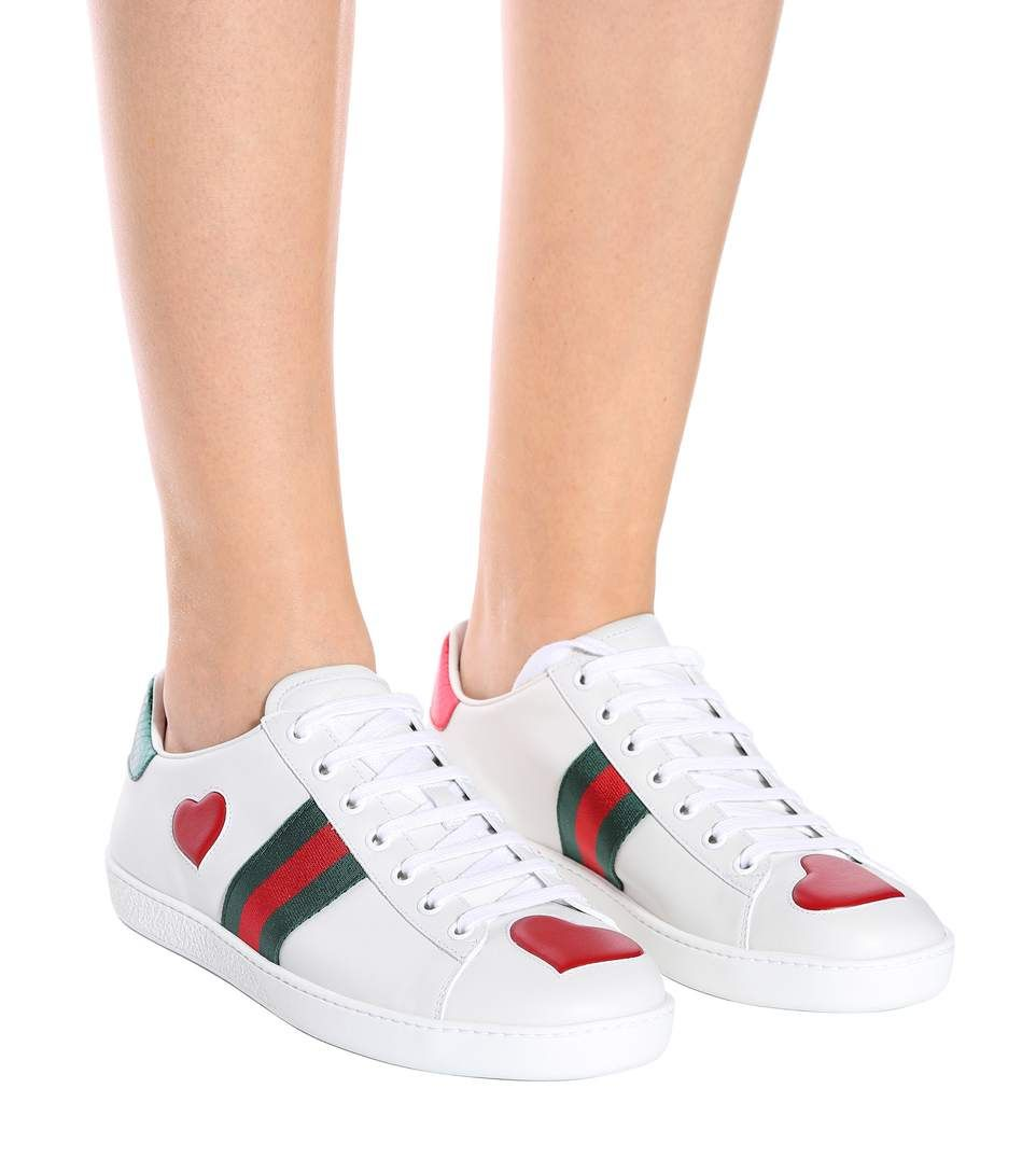 a3438060b30f Ace Snakeskin-Trimmed Leather Sneakers - Gucci