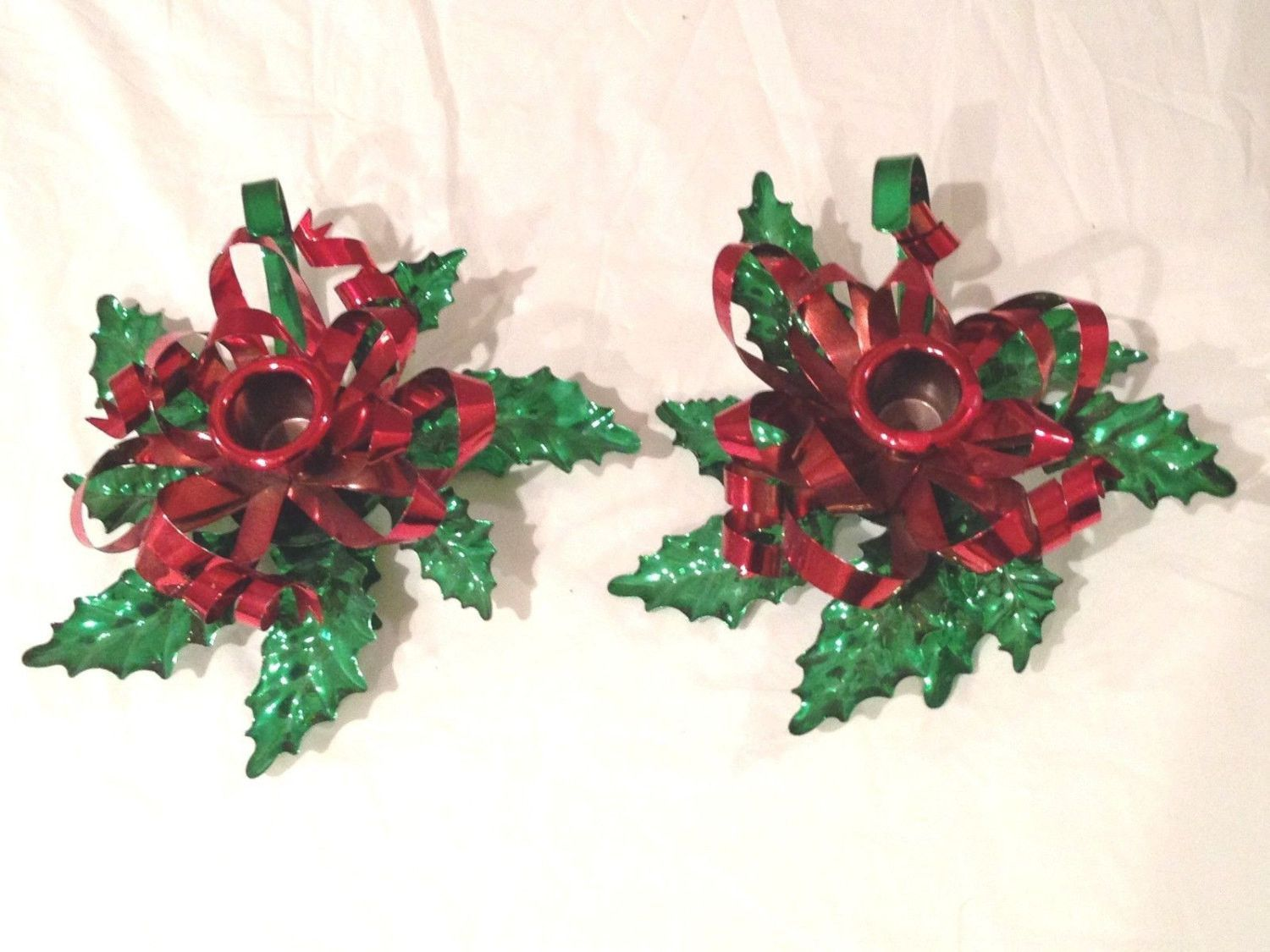 Vintage Beautiful Tin Holly Candle Holders (2)-Look NICE!!!!
