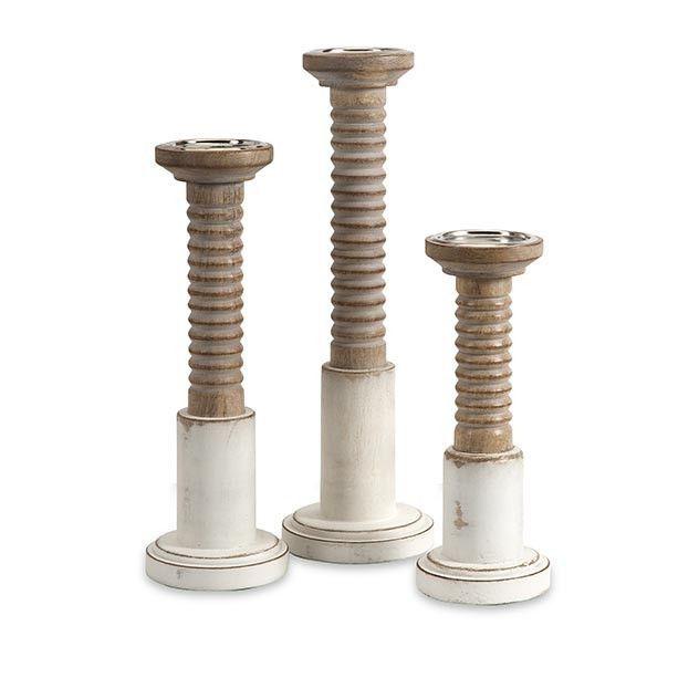 Jonas Carved Wood Candleholders - Set of 3