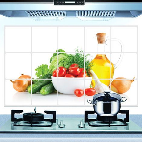 Oil Proof Kitchen Wall Paper Decal Decoration Fruits and ...