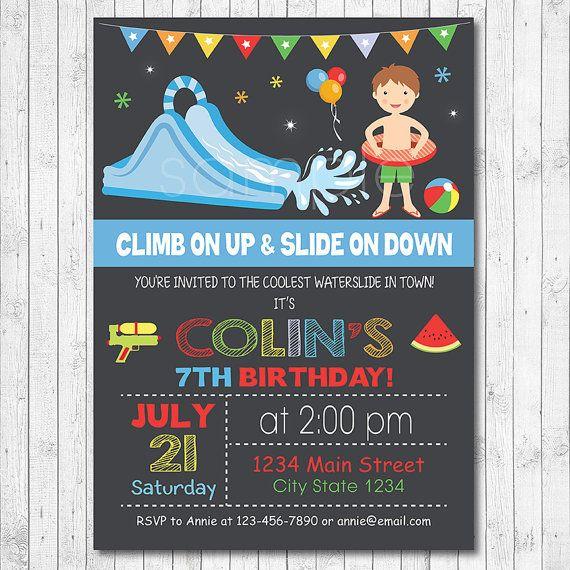 Water slide birthday invitation water slide invite pool invitation water slide birthday party invitation water by funkymushrooms stopboris Gallery