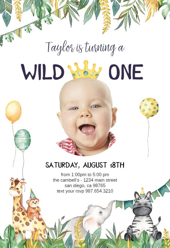 Safari Animal Birthday Invitation Template Free Greetings Island Animal Birthday Invitation Baby Birthday Invitations First Birthday Invitation Cards
