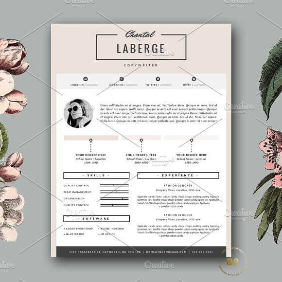 3 Page Resume Template For Ms Word By Botanica Paperie On Mywpthemes Xyz Resume Template Business Infographic Ms Word